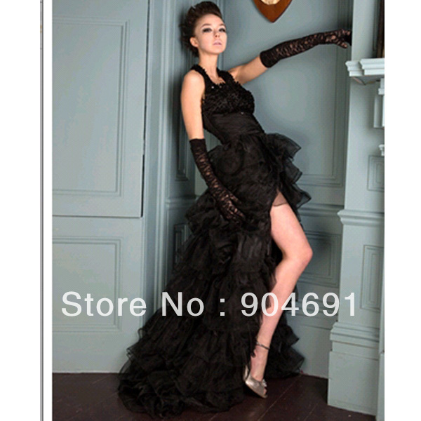 Plus Size Gothic Wedding Dress: Gothic Halter Bridal Wedding Gown Black Formal Dresses