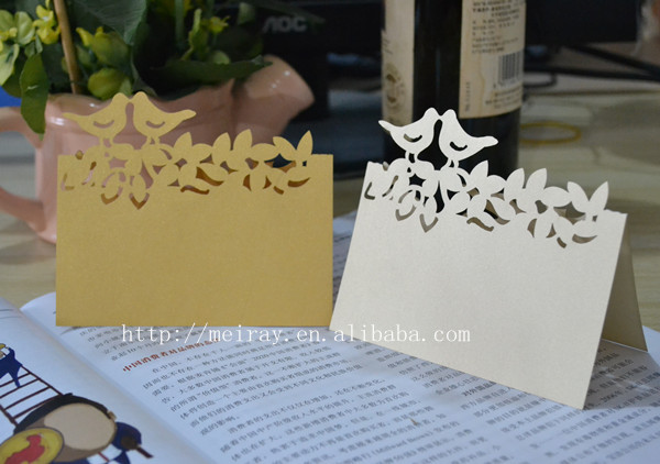 Whole 10pcs Sky Blue Laser Cut Flowers Wedding Place Cards In