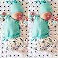 2017 otoño ropa de bebé recién nacido conjunto bebé ropa de las muchachas Tops + Pants + Sombrero Infantil 3 unids traje de algodón flecha de impresión trajes de bebé