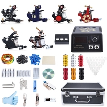 Professional Tattoo Kit 6 Machine Guns Shader Liner Power Supply 50 Needles Tip with Store Box Tattoo Set Three Pin US Plug
