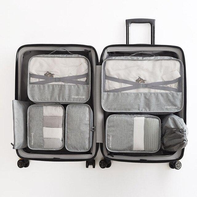 عالية الجودة 7 قطعة/المجموعة حقيبة منظم kshow المنظم مجموعات الأمتعة المنظم الغسيل الحقيبة التعبئة مجموعة حقيبة التخزين للملابس