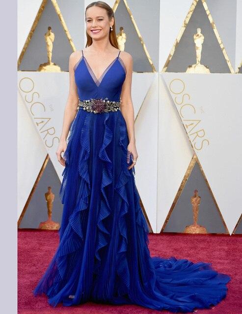 2016 Oscars moda Red Carpet Celebrity Dresses Lavendor V Neck mangas uma linha longos vestidos de noite vestidos formales CE311