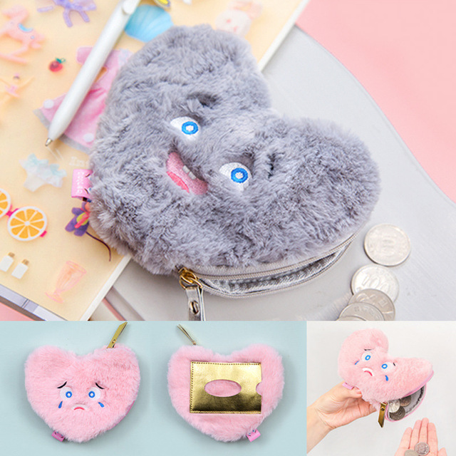Fuzzy Heart Coin Purse