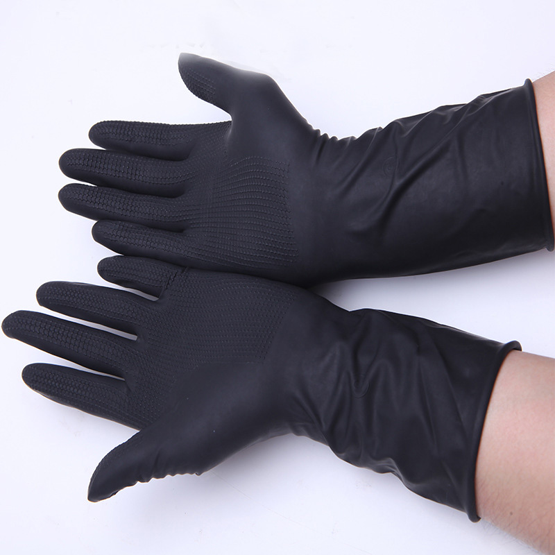 2016 Newly Black Rubber Gloves Hair Perm Hair Shampoo Natural Latex