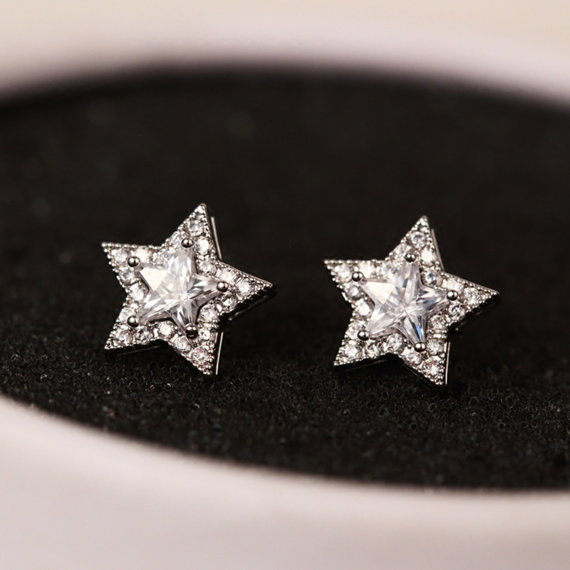 New Arrival Crystal Star Stud Earrings for Women Girls Fashion CZ Zircon Silver Color Five Pointed Star Earrings Party Jewelry