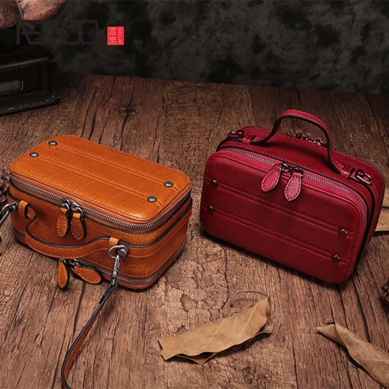 Aetoo Винтаж стереотипы небольшой площади заголовок кожаный Мульти отсек площадь поперечного сечения сумочка мини кожа плечо поле