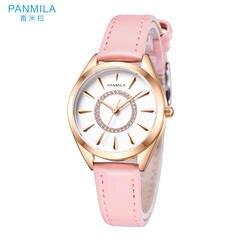 PANMILA Простые Модные женские часы Hodinky женские кварцевые часы водостойкий PU ремешок повседневные часы женские часы-браслет P0275