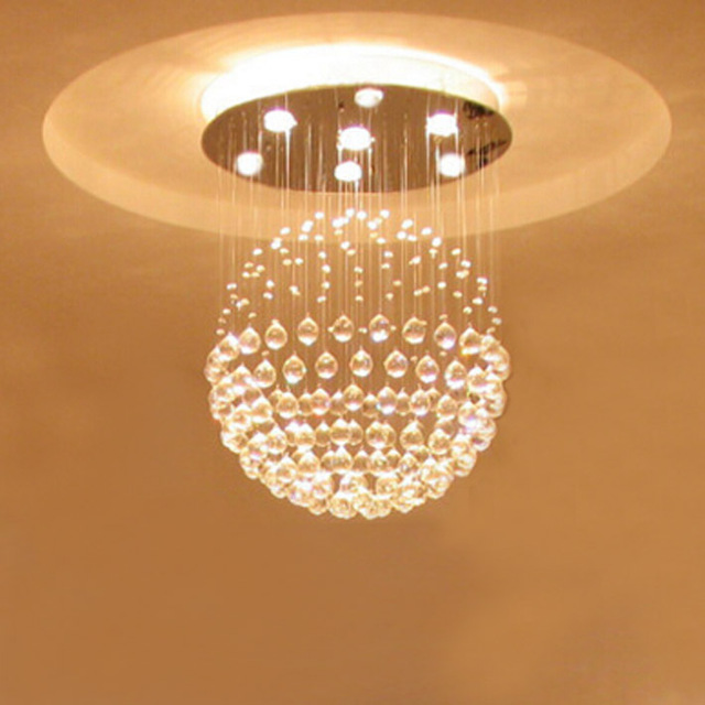 Foyer dinning modern ball globe global led chandelier lamp fixture fitting surface flush mount crystal led