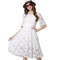 Elegant Women Dress New Arrival Ladies Lace Dresses High Quality Hollow Out Sexy Summer Dress Brand