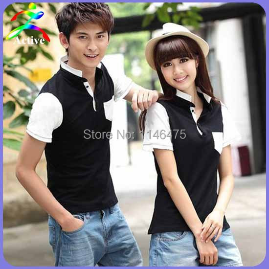 2014 Hot Selling Preppy Style Couple Clothes Summer Plus Size XXXL Student T-shirts For Two Lovers Korean Couple Shirts M0520