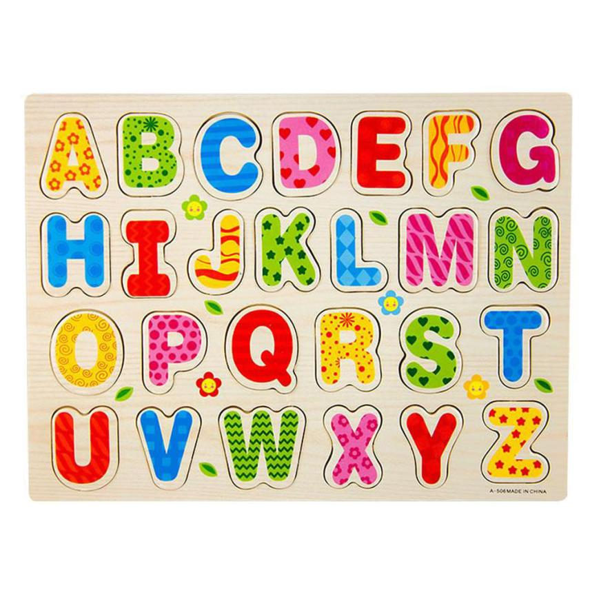 shaunyging # 3017 26pcs Wood Alphabet English Letters Puzzle Jigsaw Educational Toy