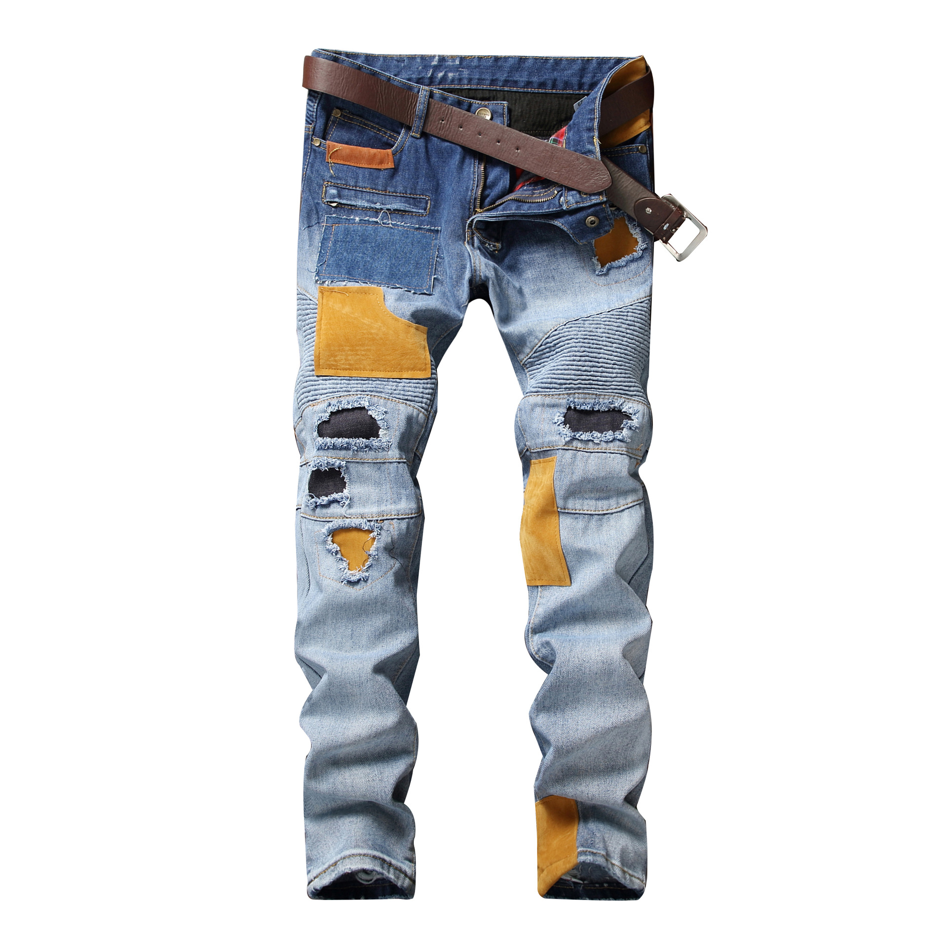 High Street Distressed Hole Patch Jeans 2018 Mens Spliced Pleated Denim Pants Jogger All Seasons Youth Hip-Hop Straight Jean
