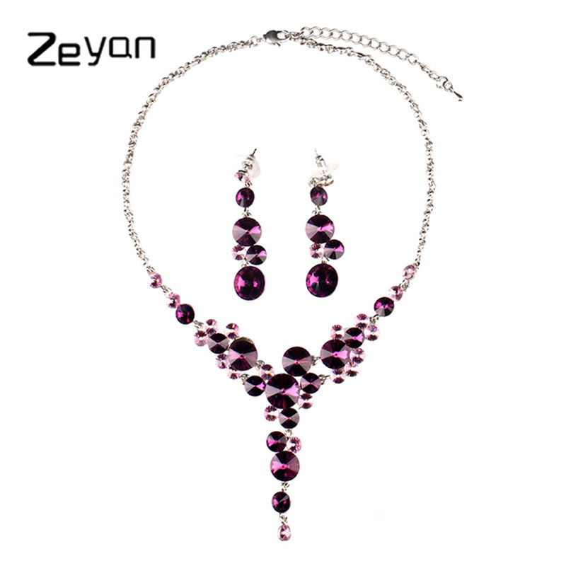 Zeyan jewellery sets purple romantic women necklace set earrings jewelry trendy bisuteria crystal long fashion bijoux ZYTZ110