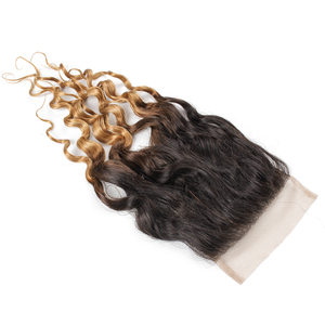 Image 4 - MOGUL HAIR Water Wave Hair Dark Brown Lace Closure 1B 27 Ombre Honey Blonde Color 8 20 inch Remy Human Hair Closure