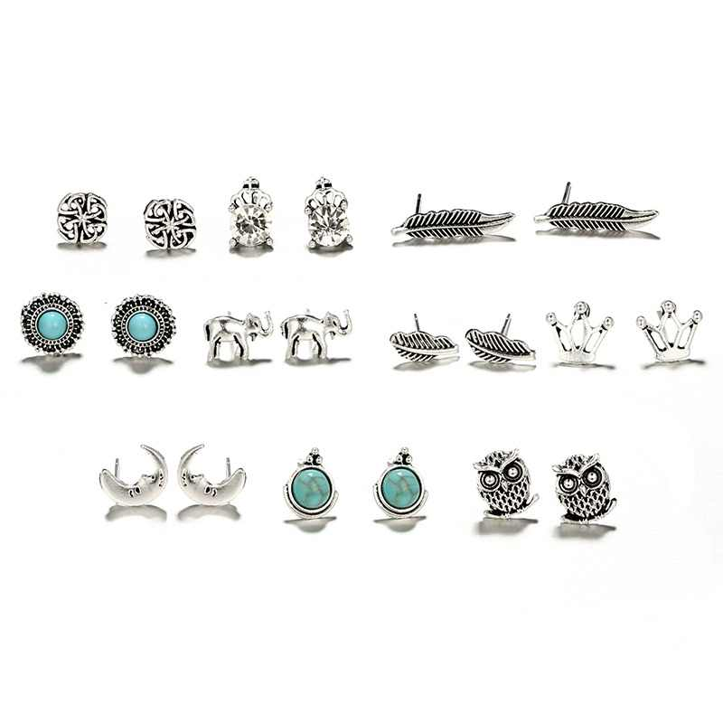 HuaTang Vintage Antique Silver Owl Studs Earring Geometric Crystal Elephant Leaf Earring Set Brincos Earrings Jewelry 6757