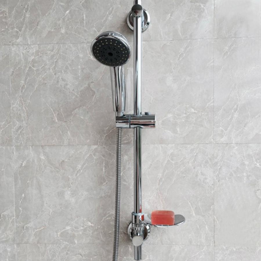 Barre de levage de douche en acier inoxydable Type d'ascenseur porte-barre de douche avec porte-savon à tige ventouse installer des fournitures de salle de bains