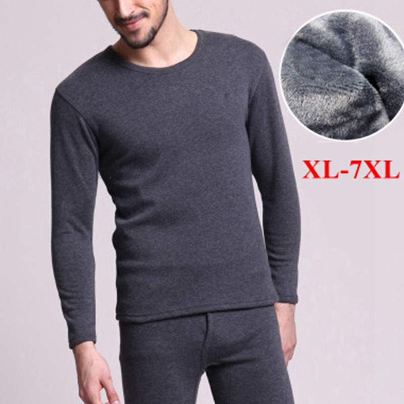 Large Size 7XL Warm Men Underwear Long Johns Solid Navy Blue Gray Male 4XL 5XL 6XL Fleece Thicken Underwear Tops+ Thermal Pants(China)