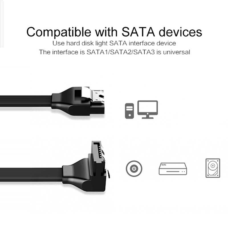Cabo adaptador sata 3.0 de disco rígido, cabo hdd 50cm de linha reta 90 graus para asus msi gigabyte placa-mãe