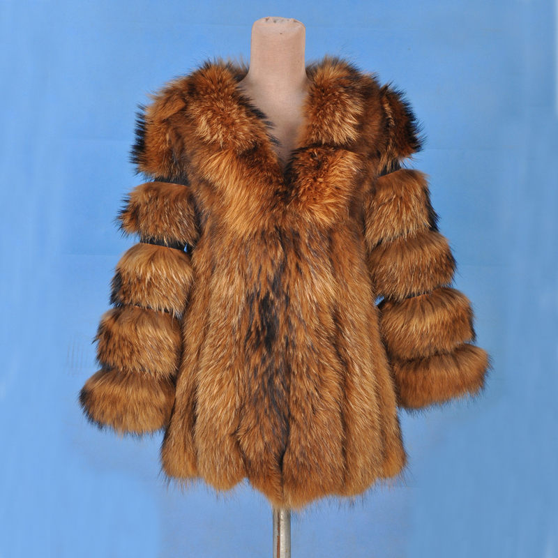 2018 Arrival Real Fox Fur Coat With Natural Pig