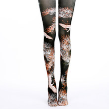 Perfering Hot Stocking INS Style New Fahion Sexy Printing Silk Stockings Unique Thin Women Art Bird Lady Girl Black Stocking(China)