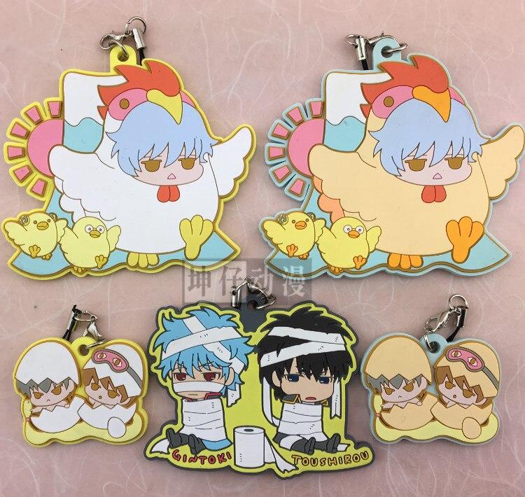 Gintoki Sakata Katsura Hijikata Toushirou Takasugi Shinsuke Chicken Ver Anime Gintama Japanese Rubber Keychain парик косплей takasugi shinsuke cosplay 35 noragami yato takasugi shinsuke wig