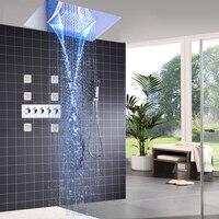 Современные Смесители для душа комплект потолочные встраиваемые светодиодный тропический Душ Набор водопад душ массаж Панель Средства ух