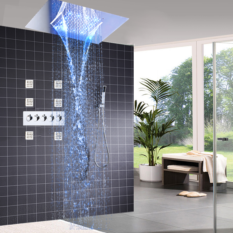 Modern Shower Faucets Set Ceiling Recessed LED Rain Shower Set Waterfall Massage Shower Panel Body Shower Jets Bathroom Bath Set new design bath electric led ceiling recessed rainfall shower head 304sus bathroom accessories douche overhead shower panel