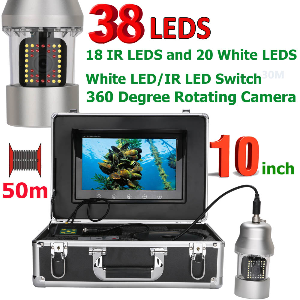10 Inch 50m Underwater Fishing Video Camera Fish Finder IP68 Waterproof 38 LEDs 360 Degree Rotating