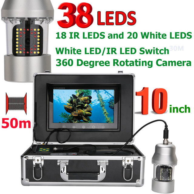 Aliexpress com : Buy 10 Inch 50m Underwater Fishing Video Camera Fish  Finder IP68 Waterproof 38 LEDs 360 Degree Rotating Camera 20m 100m from  Reliable