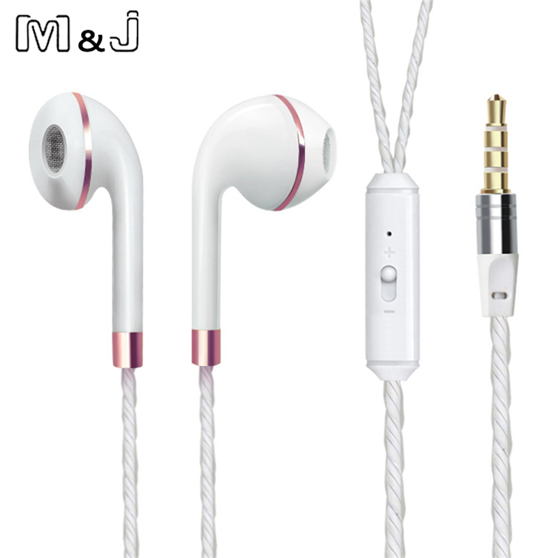 M&J Wired Earphone For iPhone 6s 6 5 Xiaomi Hands free Headset Bass Earbuds Stereo Headphone For Apple Earpod Samsung earpiece rock y10 stereo headphone earphone microphone stereo bass wired headset for music computer game with mic