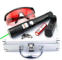 High Power 532nm 50000m Adjustable Focus Burning Match Pop Balloon Green laser pointer pen with Charger Goggles Safety keys Box