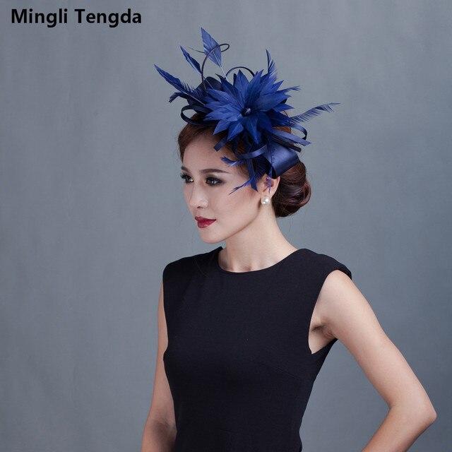 67a2f756 Mingli Tengda Elegant Fascinators Wedding Black Hat Linen Feather Wedding  Hat Women Hair Accessories Stylish For
