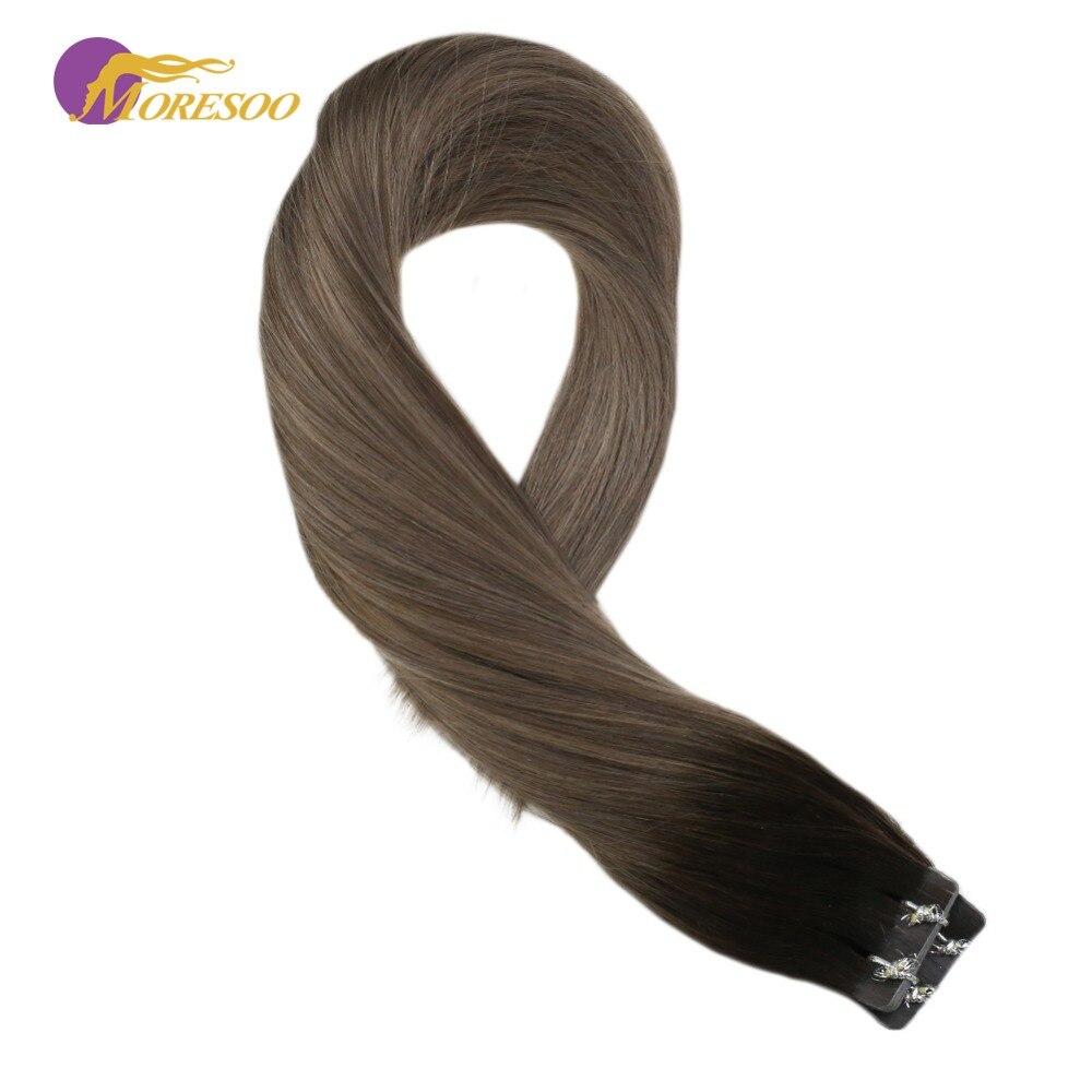 Moresoo Tape In Hair Extensions Dark Brown #2/19/20 Brown Machine Remy Brazilian Human Hair Skin Weft  20PCS 50G