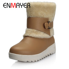 ENMAYER Female Winter Shoes Women Boots  Woman Warm Snow Fashion Flat Hight Incresing Mid-Calf Size 34-40 CY046