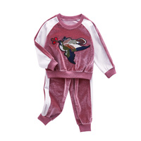 Girls Clothing Sets Velvet Embroidered T Shirts For Girls Trousers Spring Autumn Sports Suits Girls Outfits