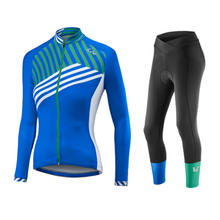 New Blue stripe 5 colors Winter Thermal Fleece Cycling Jersey Warm 2017 Pro Mtb Long Sleeve Women Bike Wear Clothing Maillot