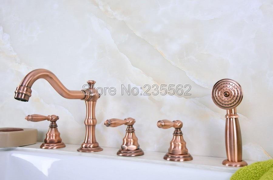 Antique Red Copper 5 Hole Roman Bathtub Faucet Tap &Handheld Shower Deck Mounted lna230Antique Red Copper 5 Hole Roman Bathtub Faucet Tap &Handheld Shower Deck Mounted lna230