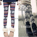 Free Shipping Fashion Retail Autumn Winter warm Colorful Crystal Pattern Snowflakes Women's Knit Leggings