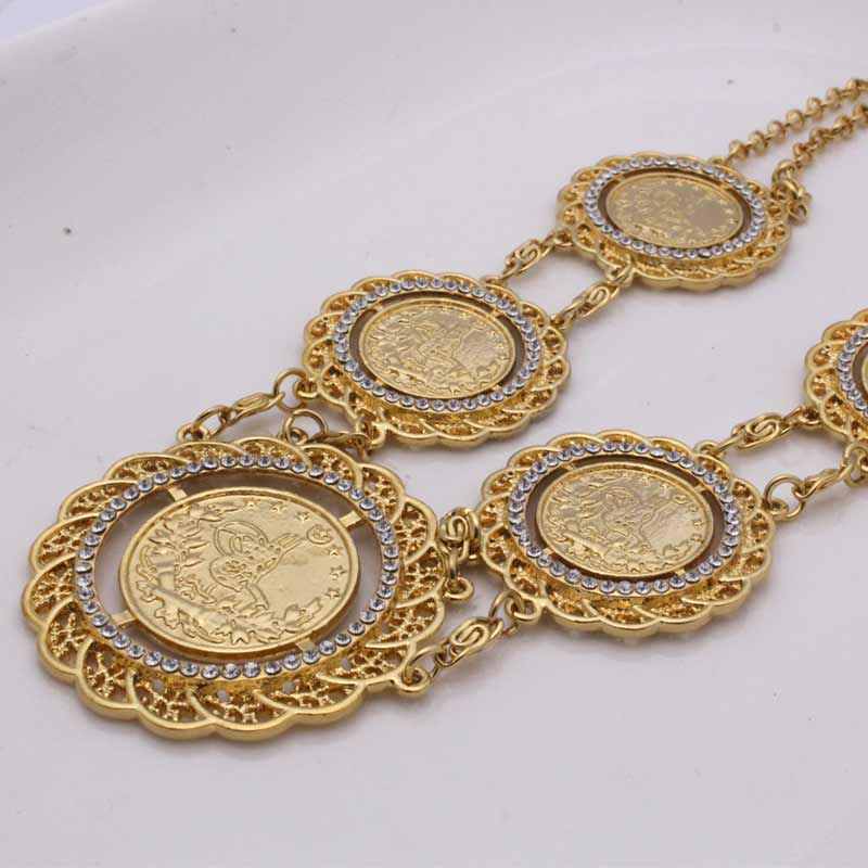 zkd   70CM Turkey Coins Arab Coins crystal islam muslim necklace    Turks Africa Party jewerly
