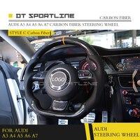 DT SPORTLINE Carbon Fiber Fibre Leather Steering Wheel Trims Cover Cap For Audi A3 A4 A5 A6 A7 Universal Replacement Accessories