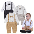 Costume Baby 2017 Spring Gentleman Cotton Print Long Sleeve Infant Jumpsuits Turn-down Collar with Bow Infant Clothes