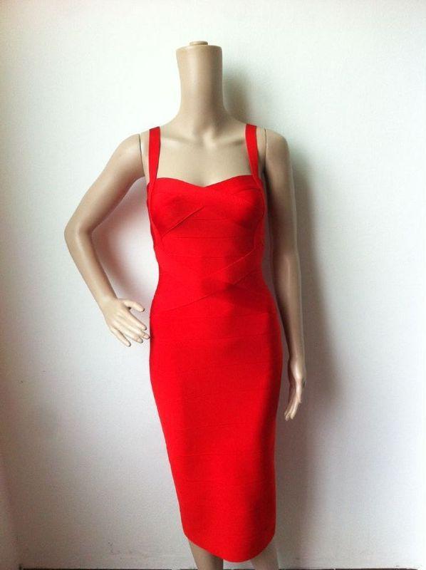 7 цветов Высокое качество Для женщин HL Бандажное платье трапециевидной формы без рукавов до колена Длина без рукавов пикантное, Клубное, вечернее платье - Цвет: Красный