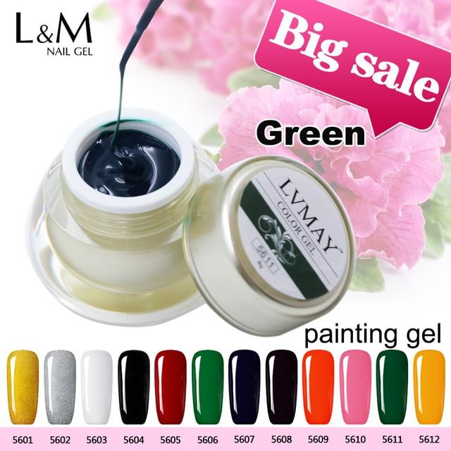 3 Jars Set Lvmay Brand Beauty Green Colour Uv Curing Gel Nails