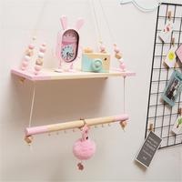 Nordic Bedroom Wall Shelf DIY Original Wooden Beads Storage Shelf Organization Swing Shelf Kids Room Decorative Hanging Stand