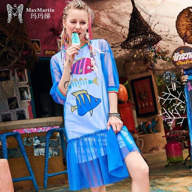 new summer women's clothing fashion street dress 2018 ladies cartoon print dresses female loose mesh O-neck dress