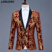 New Style 4 Colors Sequins Jacket Coat Men Costume Prom Party Host Stage Outfit Male Wedding Groom Master Performance Outerwear