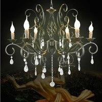 Wrought Iron Light Crystal Modern Chandeliers Home Lighting Pendant Lamps Abajur Para Quarto Lustre Decorative GY
