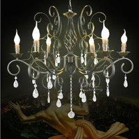 Wrought Iron Light Crystal Modern Chandeliers Home Lighting Pendant Lamps Abajur Para Quarto Lustre Decorative GY