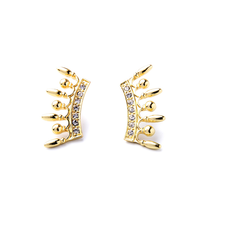 Online Unique Geometric Gold Color Earrings New Design Stud Whole Turkish Jewelry