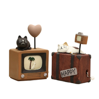 Moderno Mecanismo de Rotação Caixa de Música Resina Gato Dos Desenhos Animados Modelo Animal sobre a Caixa De Música Para Crianças de Ano Novo Presentes de Aniversário Da Música caixa
